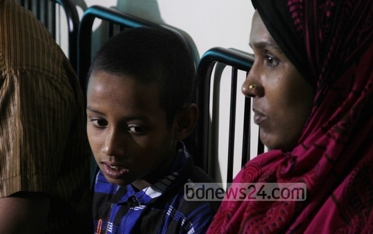 Shahena Khatun, resident of India's Tripura with her eight-year-old son Jewel, who went missing from Bangladesh's Chittagong few days ago.