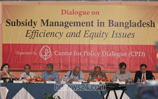 Participants at a seminar on Subsidy Management in Bangladesh organised by Centre for Policy Dialogue (CPD) in Dhaka on Saturday.