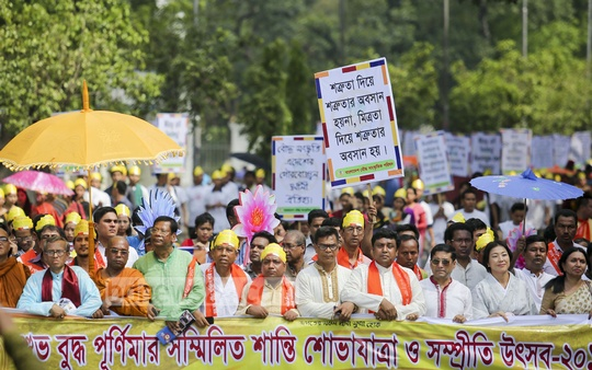 Bangladesh Buddha Sangskritik Parisad takes out a procession from Dhaka's Shahbagh on the occasion of Buddha Purnima on Sunday.