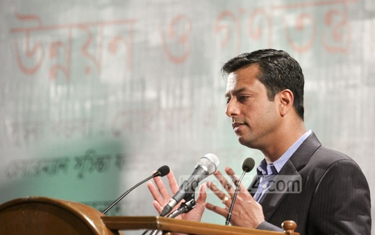 Prime Minister's ICT Adviser Sajeeb Wazed Joy addresses a seminar organised by Suchinta Foundation at Bangabandhu International Conference Centre (BICC) on Wednesday. Photo: nayan kumar