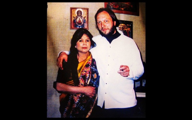 Novera Ahmed with her husband Gregoire de Brouhns. Photo taken from Facebook.