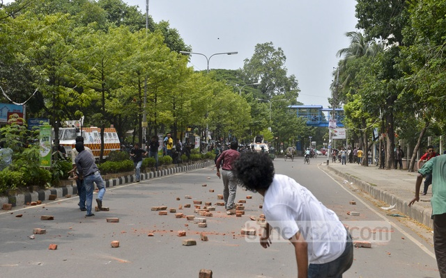 Some of the demonstrators hurled stones at police in retaliation
