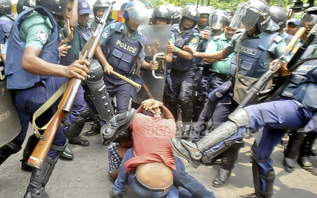 Police denied attacking the demonstrators