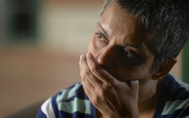 Rafida Ahmed, who is recovering from injuries including the loss of her thumb suffered during a hacking attack by jihadi assailants, speaks during an interview with Reuters near Washington April 23, 2015.