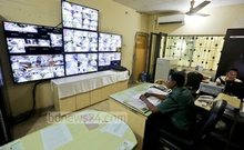 Movements on various roads in Gulshan are being monitored on closed circuit televisions installed at the Gulshan police station control room. Photo: asaduzzaman pramanik