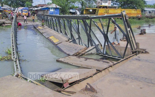 Ferry services from Bagerhat's Morholganj disrupted after this bridge collapsed on Wednesday.