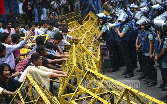 Police bar a protest march on Wednesday towards the home ministry demanding arrest and punishment for perpetrators of sexual assault on several women during Bengali New Year celebrations at Dhaka University.