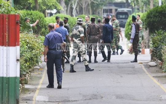 This photo of members of four forces of Bangladesh and India was shot recently. Photo: asaduzzaman pramanik