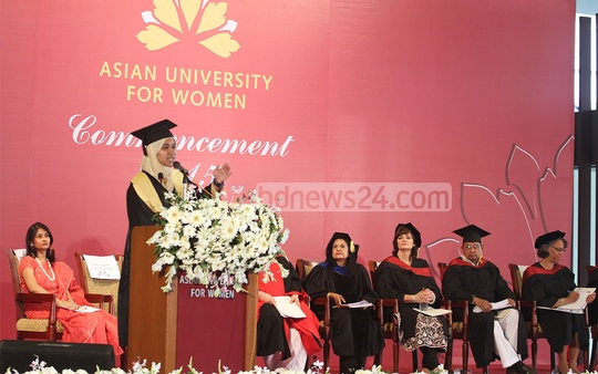 A student of Asian University for Women speaks at their convocation programme in Chittagong on Thursday. Photo: suman babu