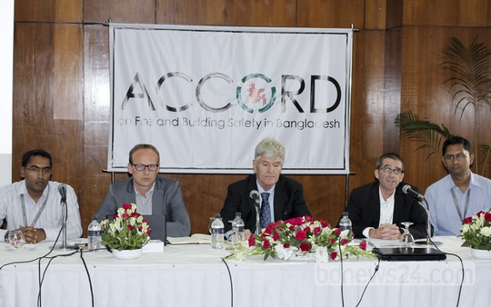 ACCORD organises a press conference on fire and building safety in Bangladesh at Pan Pacific Sonargaon hotel in Dhaka on Thursday.