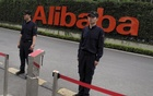 Guards stand near an entrance to Alibaba's headquarters in Hangzhou, Zhejiang province, China,  REUTERS