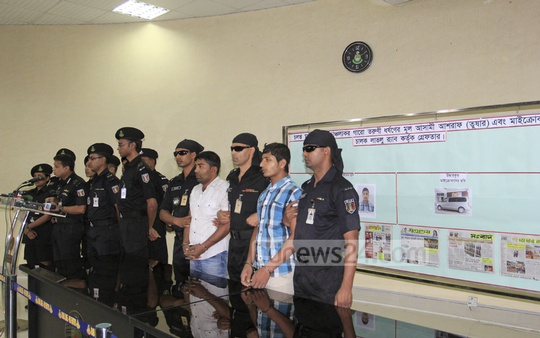 RAB announces arrest of two persons, involved in the gang rape of a Garo girl last week, at a media briefing at its headquarters on Wednesday. Photo: asif mahmud ove