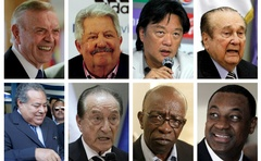 A combination photo shows eight of the nine football officials indicted for corruption charges in these file photos. From L-R: (top row) Jose Maria Marin, Rafael Esquivel, Eduardo Li, Nicolas Leoz, (bottom row) Julio Rocha, Eugenio Figueredo, Jack Warner, and Jeffery Webb.