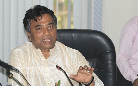 Dhaka North City Corporation Mayor Annisul Huq speaks at a meeting organised by Dhaka Transport Coordination Authority at the Nagar Bhaban on Thursday.