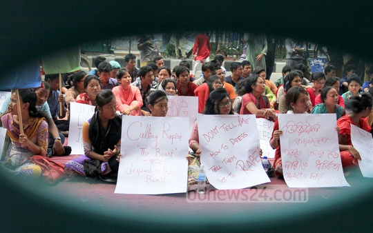 Bangladesh Garo Students Organisation organises a rally in front of the National Press Club on Friday demanding maximum penalty for the rapists of a Garo girl on a moving microbus in Dhaka. Photo: asif mahmud ove