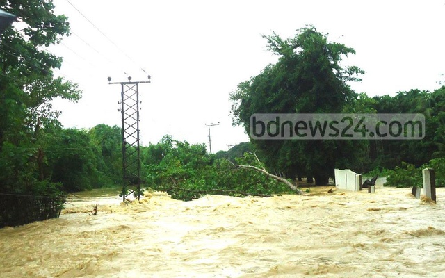 Flash flood in the Bangladesh coastal district of Cox's Bazar.