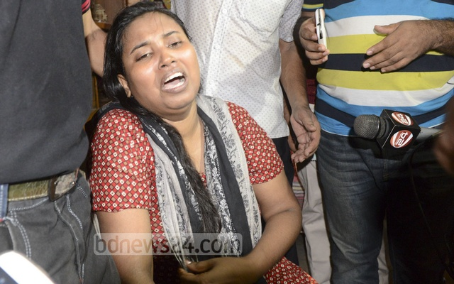 Asha Moni, the wife of slain blogger Niladri Chatterjee Niloy, who was murdered at his home in Dhaka