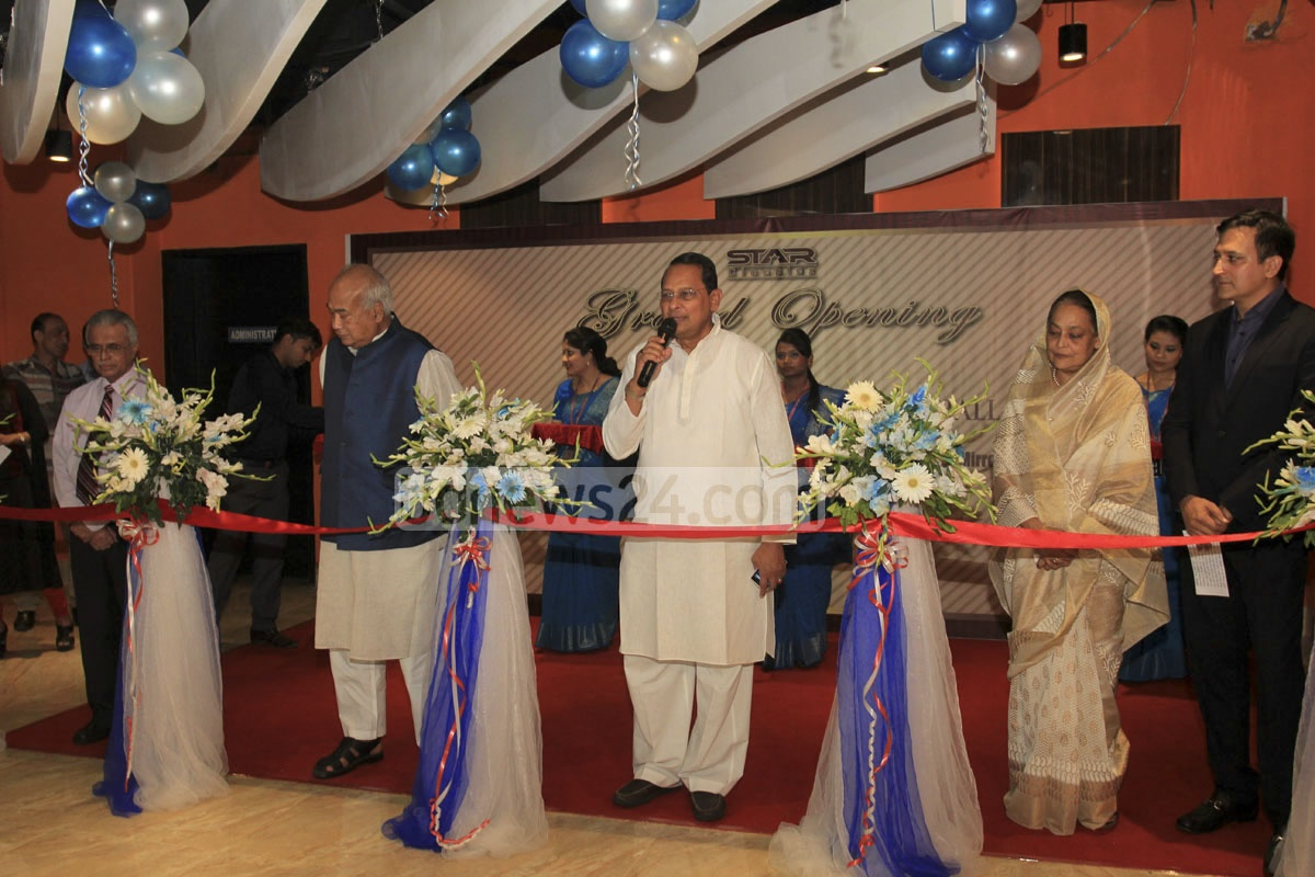 Information Minister Hasanul Haq Inu speaks at the formal launch on Tuesday of two