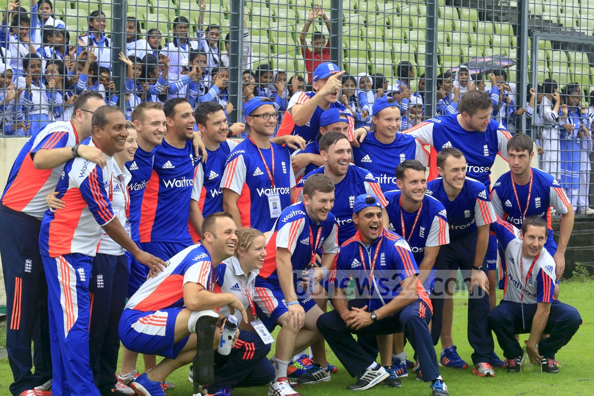 The English team for the first-ever international disability cricket tournament inaugurated on Wednesday at the Sher-e-Bangla Stadium. The ICRC is hosting the five-team T20 event with the help of the Bangladesh government and cricket board. Photo: mustafiz mamun
