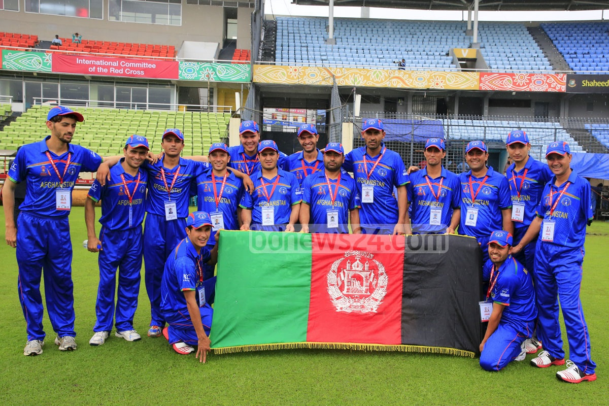 The Afghanistan squad for the first-ever international disability cricket tournament inaugurated on Wednesday at the Sher-e-Bangla Stadium. The ICRC is hosting the five-team T20 event with the assistance of the Bangladesh government and cricket board. Photo: mustafiz mamun