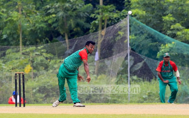 A Bangladesh bowler in action during their match against Pakistan in the ICRC Twenty20 Cricket Tournament for the physically challenged on Saturday. Photo: mustafiz mamun