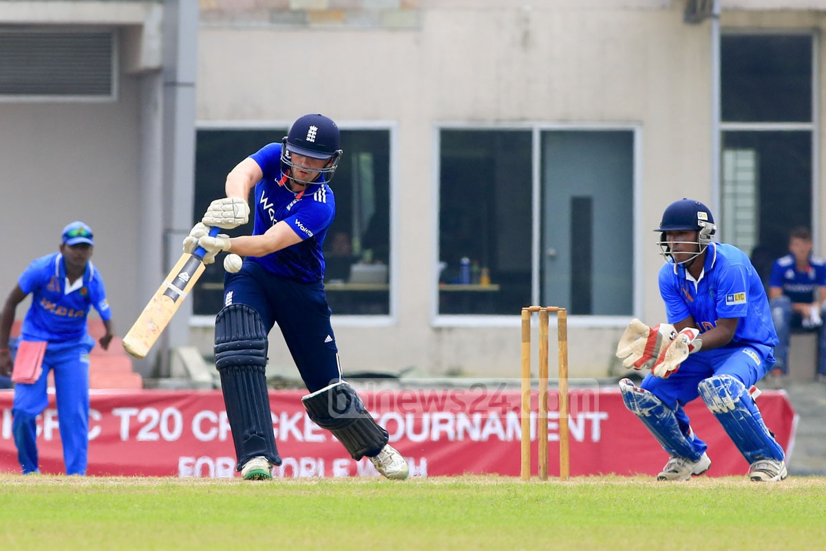 An England batsman in action during their match against India in the ICRC Twenty20 Cricket Tournament. Duckworth-Lewis method helped England win the match by 26 runs on Saturday. Photo: mustafiz mamun