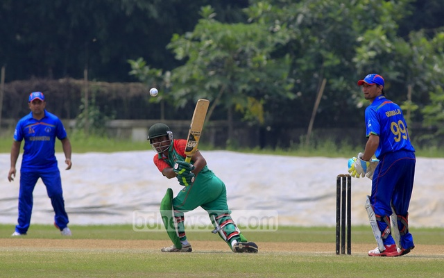 Bangladesh batsman Faisal Khan Shumit playing a shot during their match against Afghanistan in the ICRC T20 on Monday. Photo: mustafiz mamun