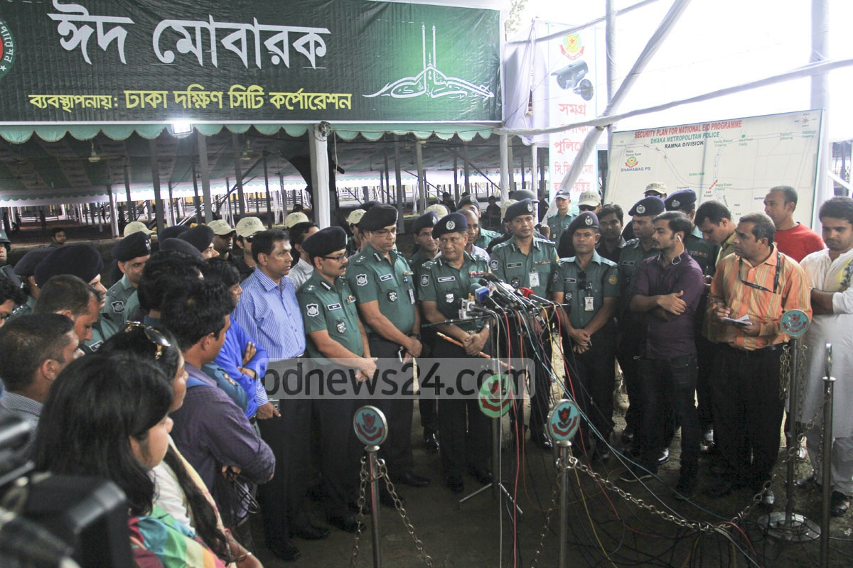 DMP Commissioner Asaduzzaman Mia briefs journalists after inspecting security measures on Thursday for Dhaka's main Eid-ul-Azha congregation at the National Eidgah grounds. Photo: asif mahmud ove