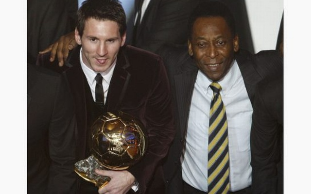 Pele presented Messi with the Ballon d'Or award in 2011. Reuters