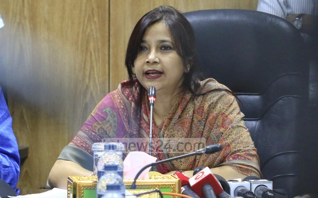 State Minister for Telecommunication Tarana Halim at a meeting with the CEOs of the mobile-phone operators at the Secretariat on Monday. Photo: mostafigur rahman