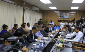 CEOs of the mobile-phone operators at a meeting with the state minister for telecommunication at the Secretariat on Monday. Photo: mostafigur rahman