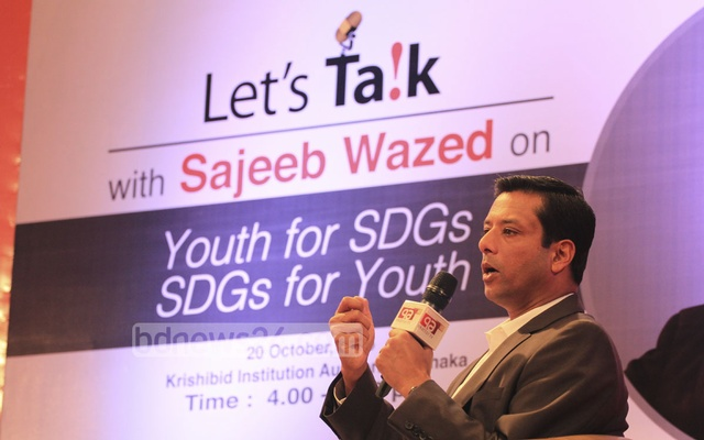 Prime Minister Sheikh Hasina's ICT Affairs Adviser Sajeeb Ahmed Wazed Joy speaks at an event - Let's Talk - organised by the CRI at the Krishibid Institution in Dhaka on Tuesday. Photo: asif mahmud ove