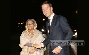 File Photo: Sheikh Hasina shakes hand with Mark Rutte during her visit to the Netherlands in November, 2015.