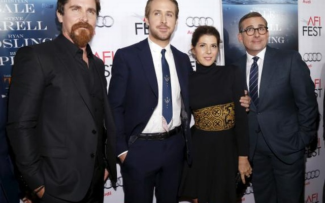 Cast members (L-R) Christian Bale, Ryan Gosling, Marisa Tomei and Steve Carell pose at the premiere of 'The Big Short' during the closing night of AFI Fest 2015 in Hollywood, California November 12, 2015. Reuters