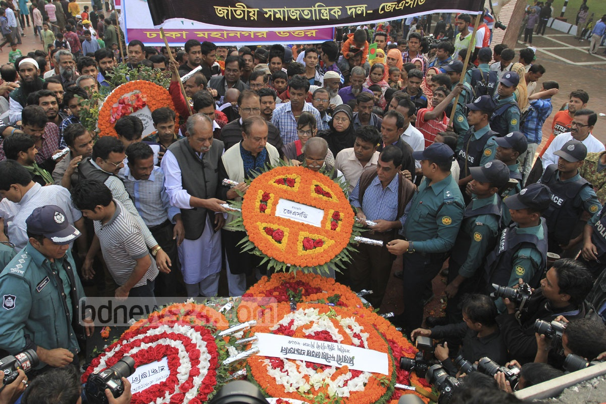 Nation pays homage to the martyred intellectuals at the Martyred Intellectuals Memorial at Mirpur in Dhaka on Monday. Photo: asif mahmud ove