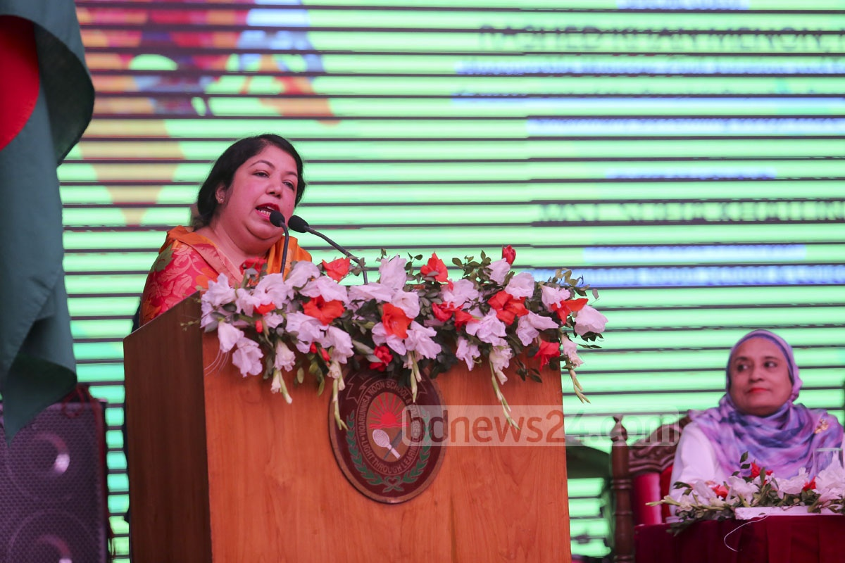 Speaker Shirin Sharmin Chowdhury addresses the first reunion of the Viqarunnisa Noon school and college alumni.