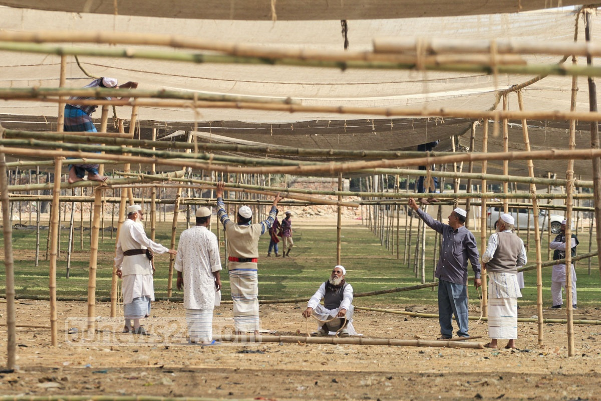 Preparation for Bishwa Ijtema on the bank of the Turag river at Gazipur's Tongi Saturday.