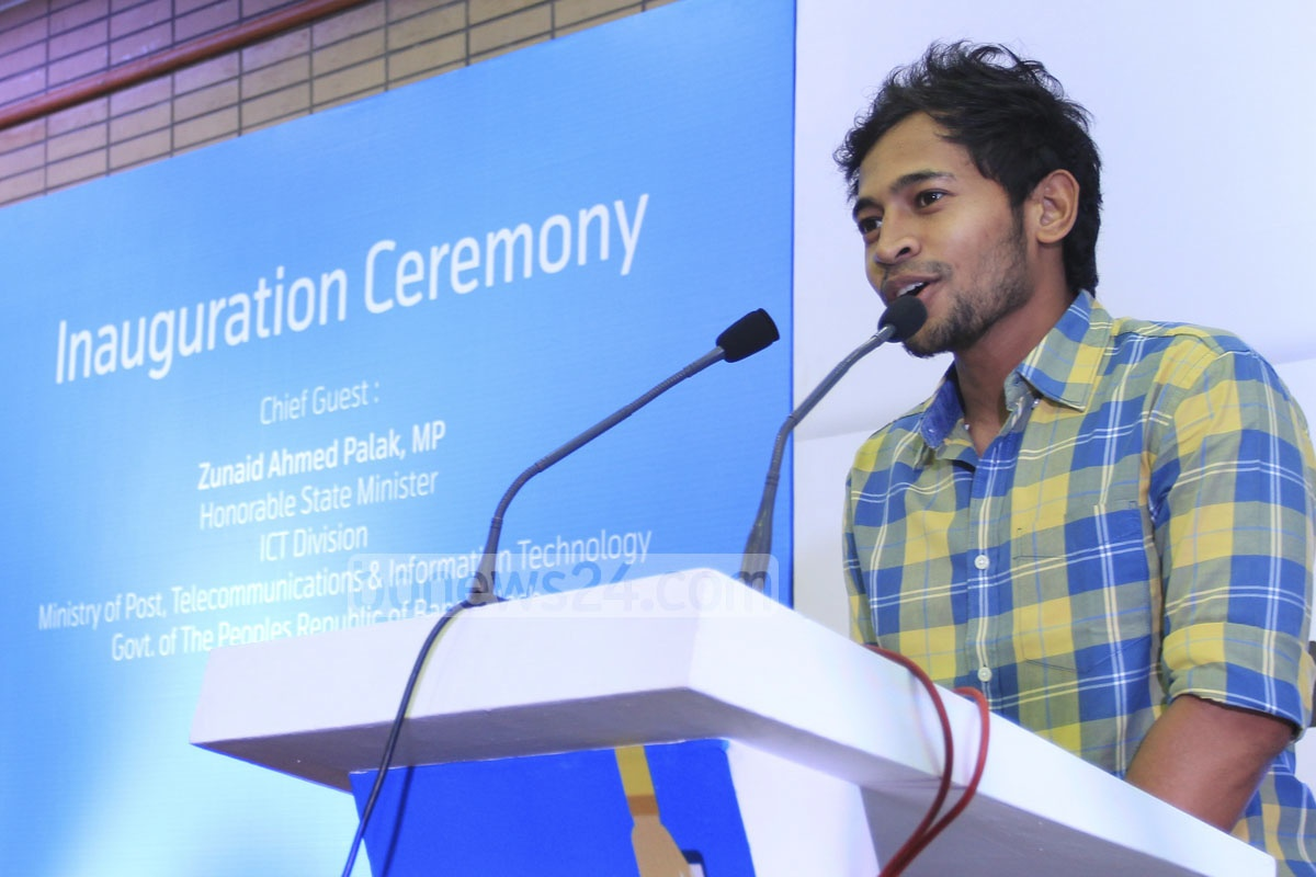 Cricketer Mohammad Mushfiqur Rahim speaks at the inauguration of the three-day smart phone and tab exposition at Bangabandhu International Conference Centre in Dhaka on Thursday. Photo: asif mahmud ove