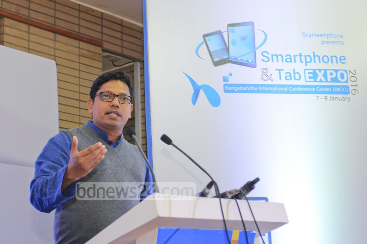 State Minister for ICT Zunaid Ahmed Palak speaks at the inauguration of the three-day smart phone and tab exposition at Bangabandhu International Conference Centre in Dhaka on Thursday. Photo: asif mahmud ove