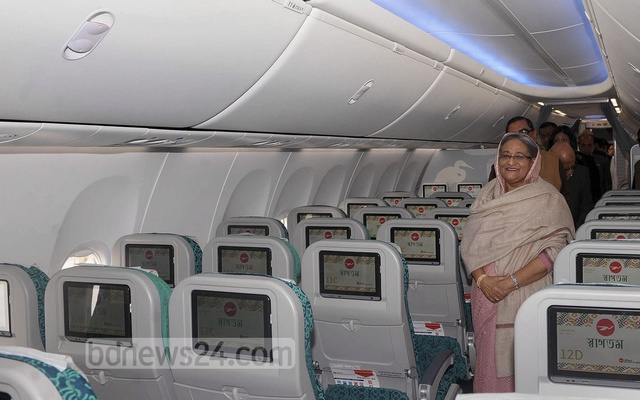File photo shows Prime Minister Sheikh Hasina inside a Biman Bangladesh Boeing 737-800, when it was commissioned.