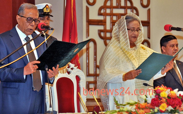 This bdnews24.com file photo of Jan 10, 2014 shows Sheikh Hasina taking oath as prime minister for second consecutive term.