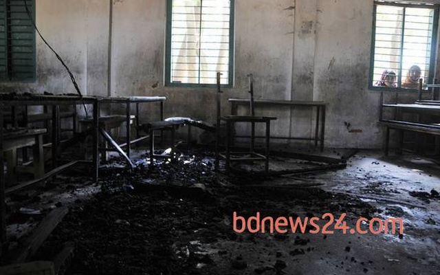 Large-scale violence was unleashed across Bangladesh in the run down to the national elections of Jan 5, 2014. This polling station at Chittagong's Satkania was burnt down by opposition activists. File Photo