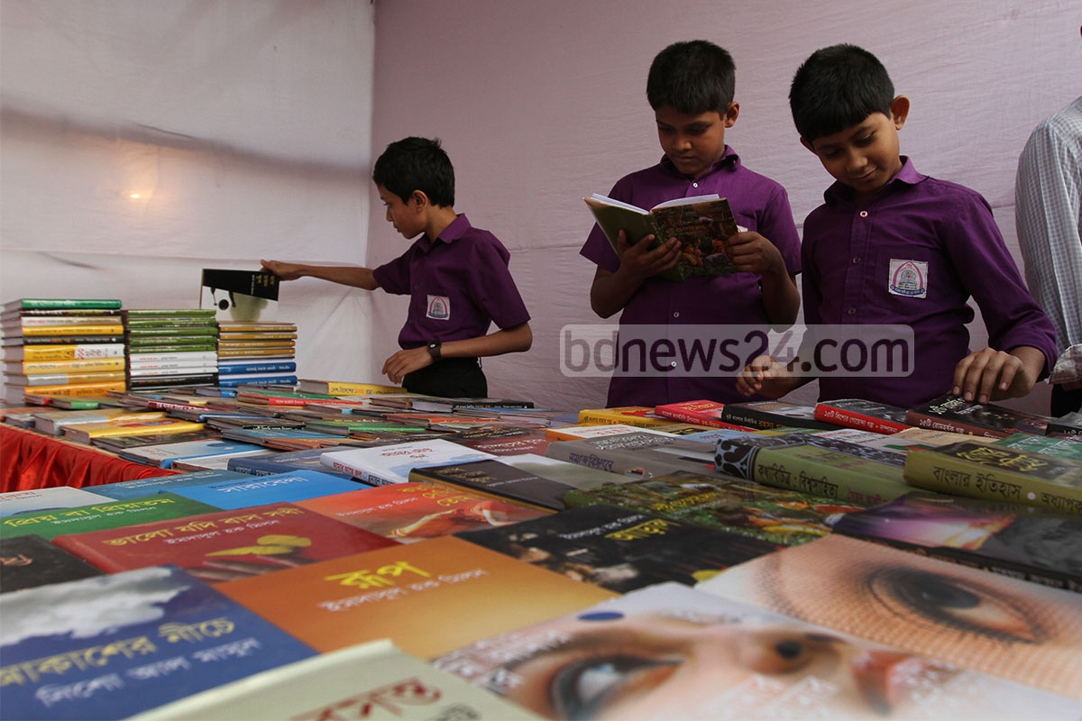 Students visit the week-long book fair that began on a ground next to Chittagong's M A Aziz Stadium on Wednesday.