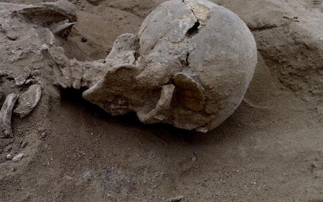 Detail of the skull of the skeleton of a man found lying prone in the sediments of a lagoon 30km west of Lake Turkana, Kenya, at a place called Nataruk, is pictured in this undated handout photo obtained by Reuters.