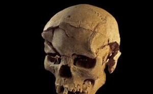 Skull of a man found lying prone in the sediments of a lagoon 30km west of Lake Turkana, Kenya, at a place called Nataruk, is pictured in this undated handout photo obtained by Reuters.