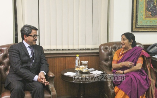 State Minister for Foreign Affairs Md Shahriar Alam calls on India's External Affairs Minister Sushma Swaraj in New Delhi on Thursday.