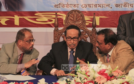 Hussein Muhammad Ershad, GM Quader and Ruhul Amin Hawlader talk to grassroots leaders during a joint meeting at Emanuel's Convention Center in Dhaka on Monday. Photo: asif mahmud ove