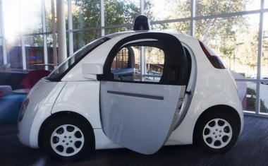 A Google self-driving car is seen inside a lobby at the Google headquarters in  this Nov 13, 2015 file photo. Reuters