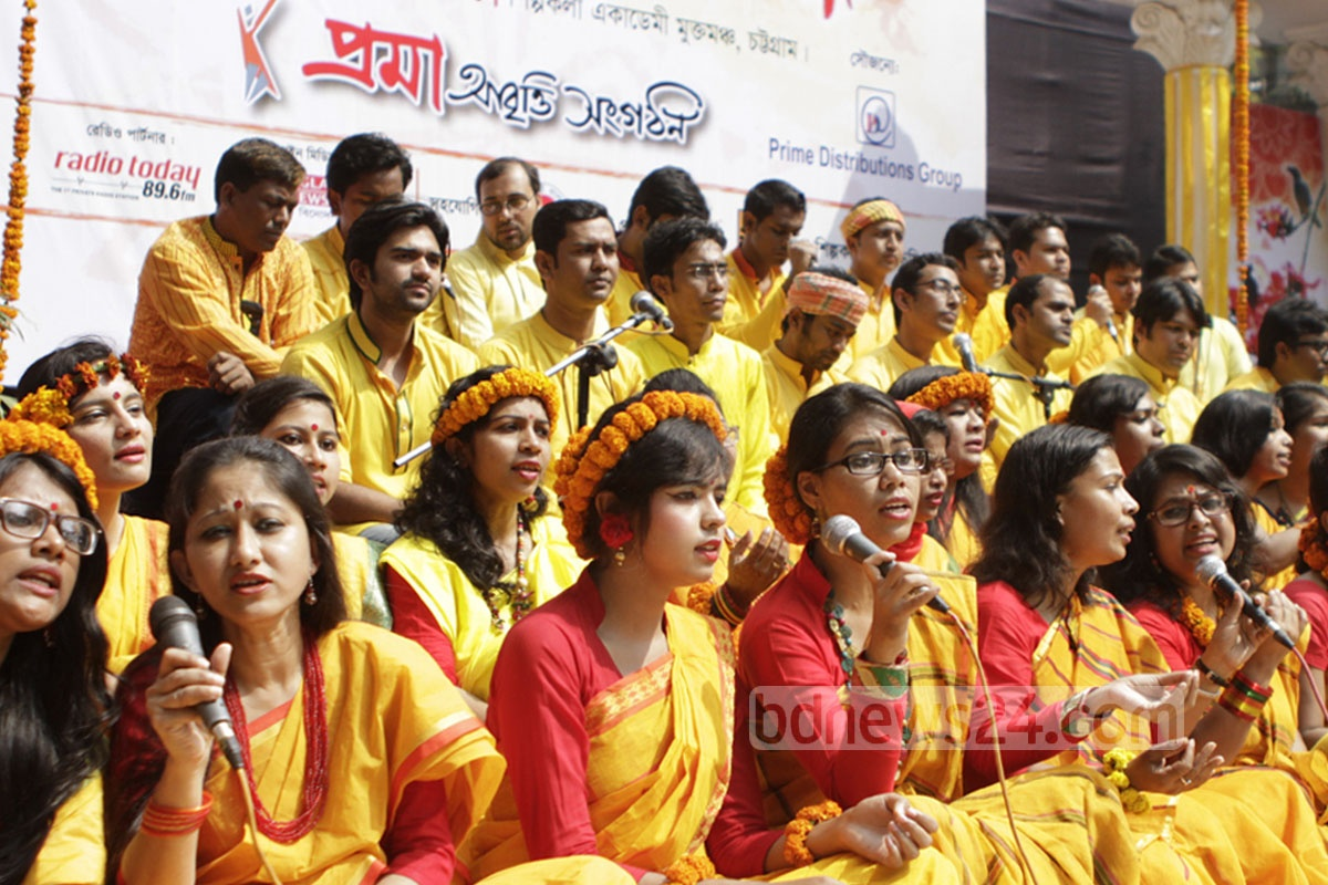 Artistes of a cultural organisation perform at a function in Chittagong on Saturday as part of the celebration of Pahela Falgun, the first day of spring.