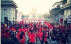 Flash mob in front of the Supreme Court in Dhaka on V-Day, 2014. Photo: One Billion Rising Bangladesh's Facebook page